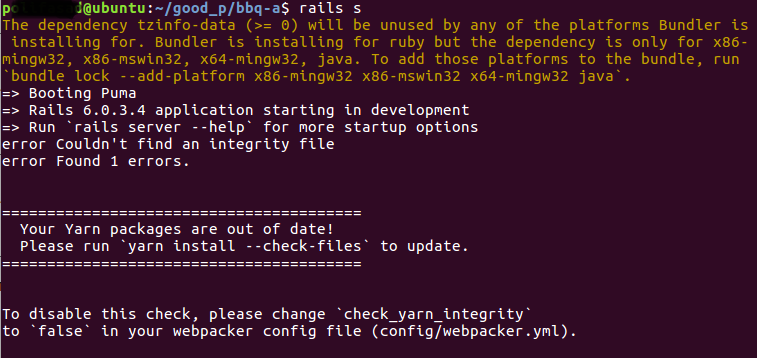 How to fix Yarn packages are out of date in terminal